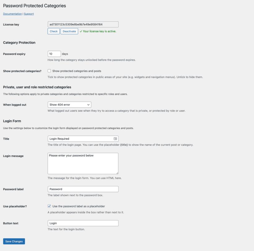 Password Protected Categories WordPress plugin settings