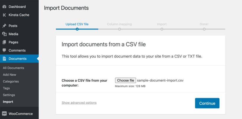 WordPress Document library CSV import