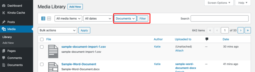 Filter WordPress Media Library by Documents