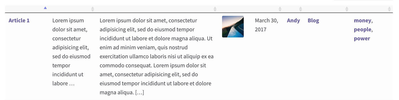 WordPress table plugin hide column headings