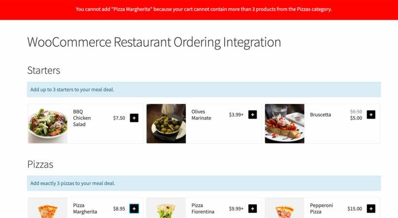 WooCommerce Restaurant Ordering integration error