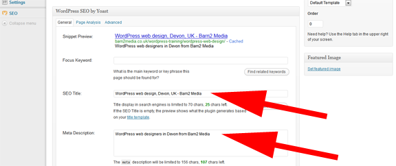 WordPress SEO title and description screenshots
