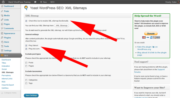 WordPress XML sitemap settings screenshot