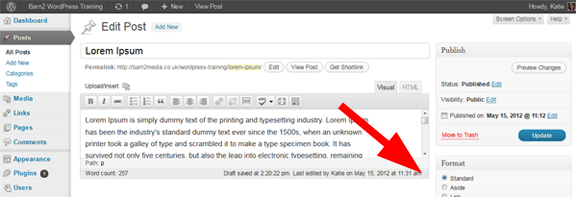 WordPress web design tip - drag and drop