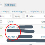 Missing WooCommerce Order numbers example