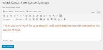 JetPack Contact Form Success Message