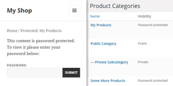 WooCommerce password protected categories plugin