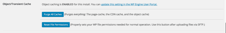 WP Engine how to clear cache