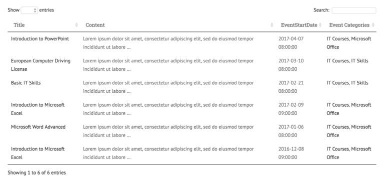 WordPress events table list plugin