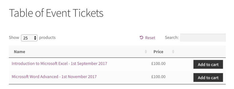WooCommerce Table of Event Tickets
