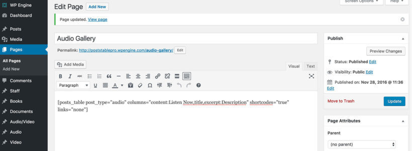 WordPress audio library gallery