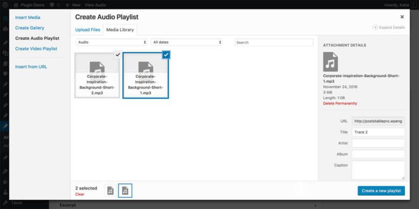 WordPress audio library plugin