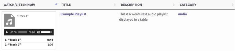 Play audio MP3 in WordPress table