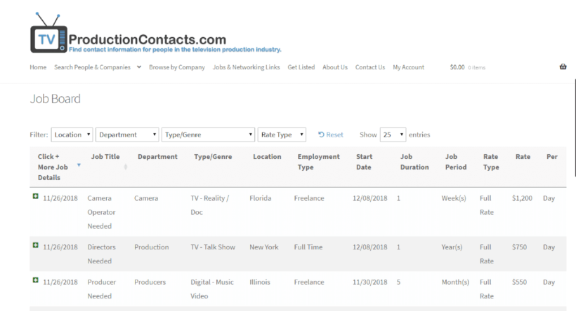 TVProductionContacts.com Sortable Job Board