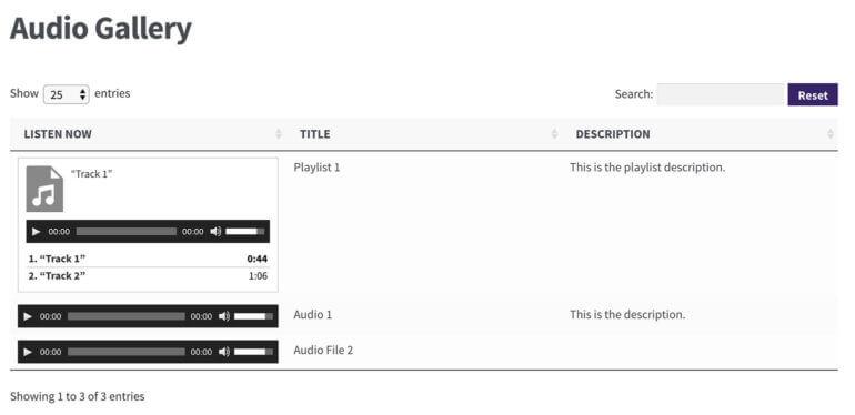 WordPress audio library