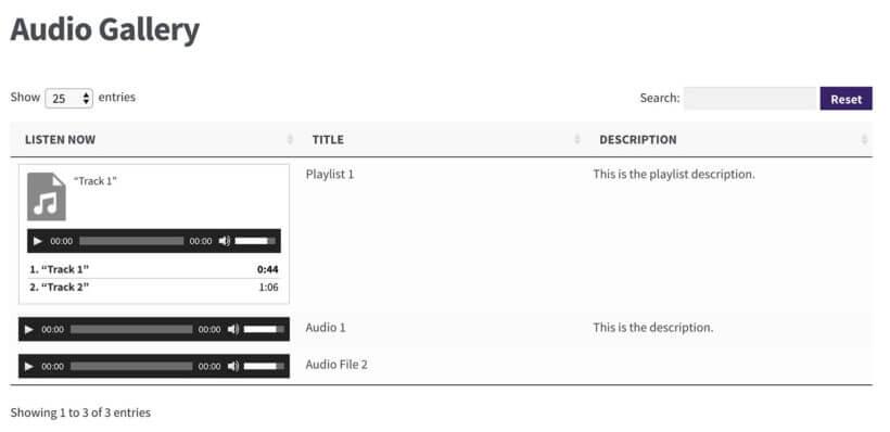 WordPress audio library plugin with gallery embeds