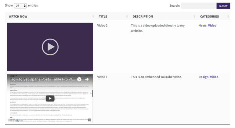 Finished WordPress video gallery