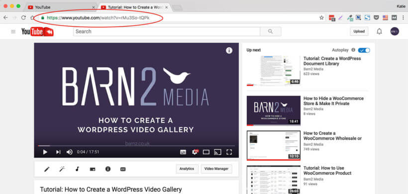 Where to find YouTube URL for WordPress video gallery