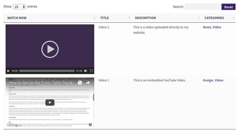 WordPress video library