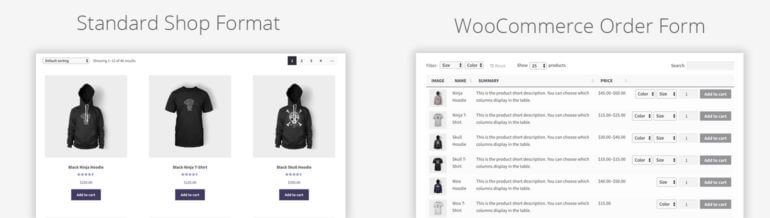WooCommerce product order form layout