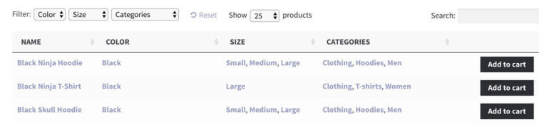 WooCommerce product table view with attribute filters