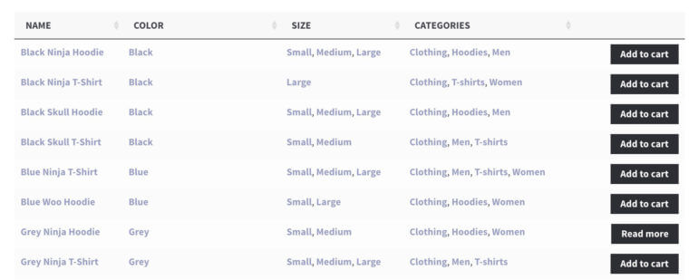 WooCommerce product table with attributes