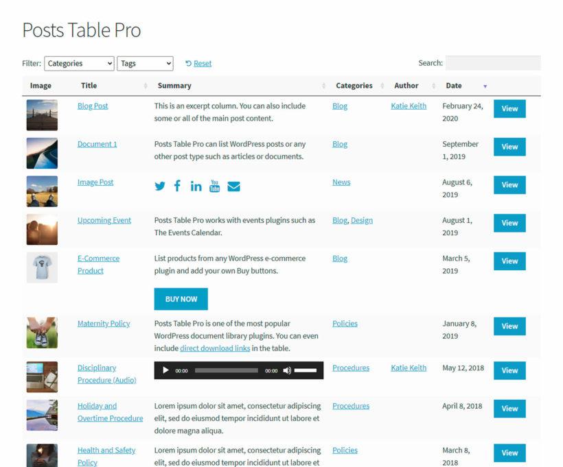 Posts Table plugin