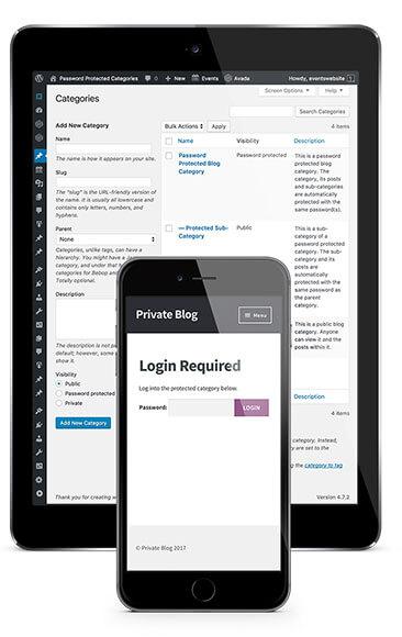 Password protected portfolio categories WordPress plugin