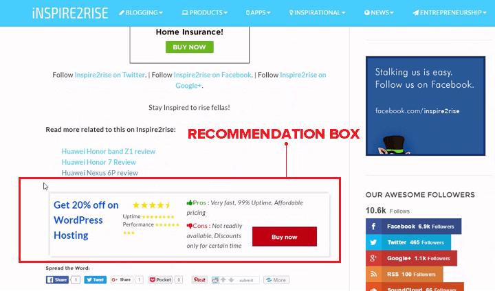 WordPress recommendations plugin