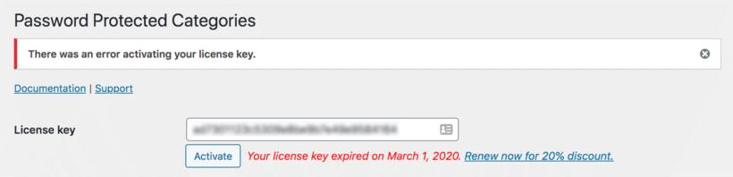 License key error for Barn2 plugin
