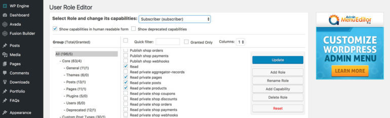 Edit WordPress user roles for private categories, posts and products