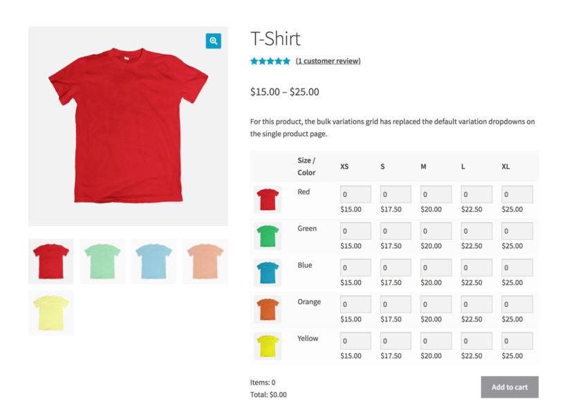WooCommerce Bulk Variations grid