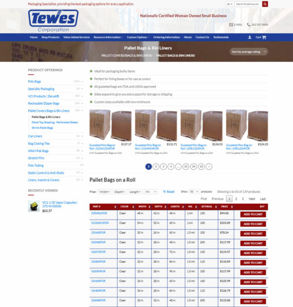 Tewes Corp WooCommerce Product Table