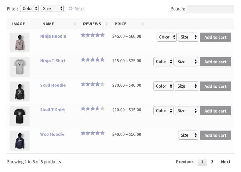 WooCommerce product list plugin