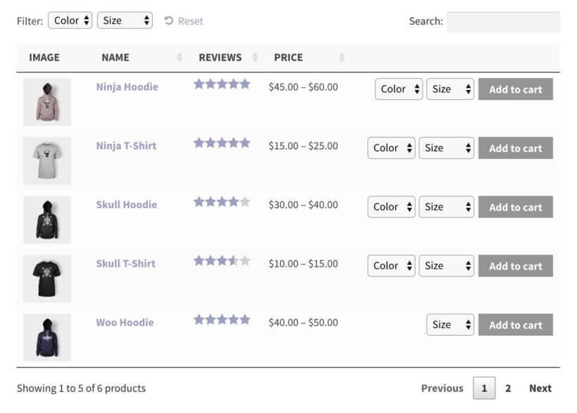 WooCommerce product list plugin