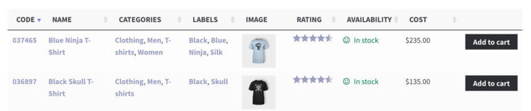 Product table WooCommerce with custom column heading text