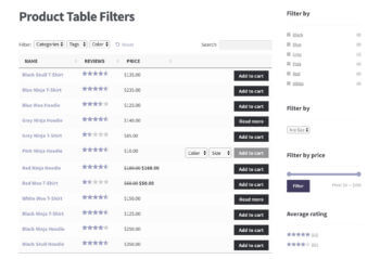 WooCommerce Product Table Filters