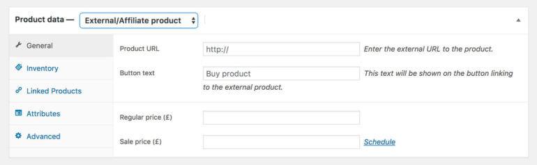 WooCommerce affiliate product