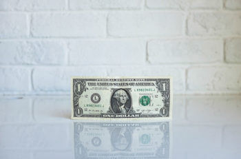 Dollar bill on white background