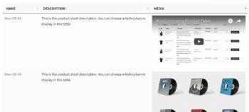WooCommerce audio video table