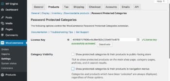 WooCommerce password protected categories SEO