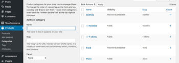 WooCommerce password protected category structure