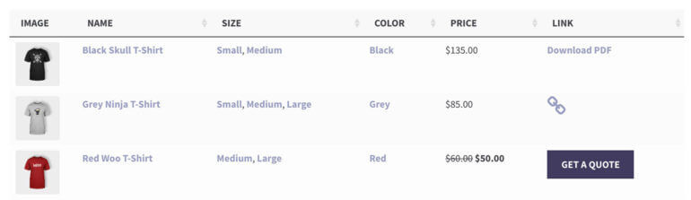 WooCommerce product table custom field columns