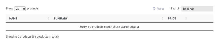 WooCommerce product table no search results message