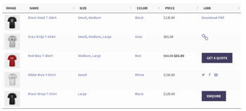 WooCommerce table plugin with buttons