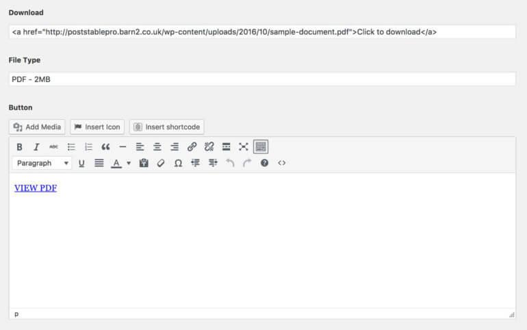 how to add link botton to wordpress
