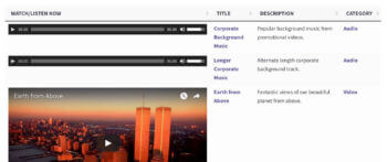 WordPress table video gallery