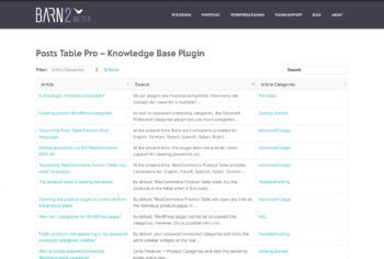 Table knowledge base plugin WordPress