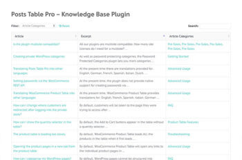 WordPress Knowledge Base Plugin Table