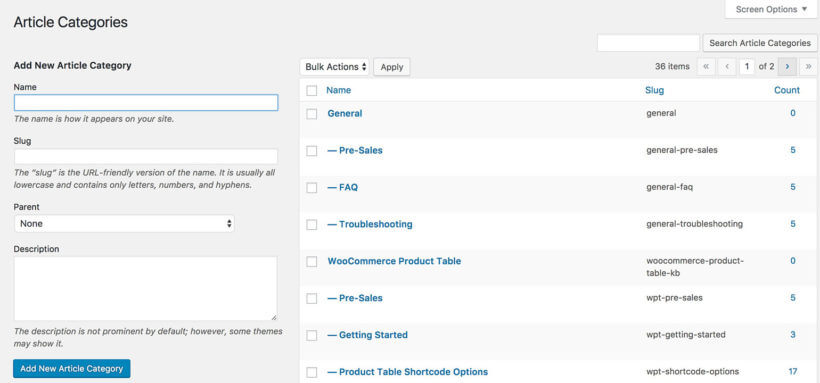 WordPress knowledge base category structure
